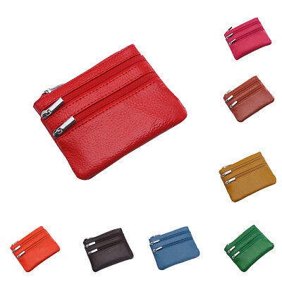 JT_ Solid Color Genuine Leather Women Coin Purse Mini Wallet Bag with Key Ring