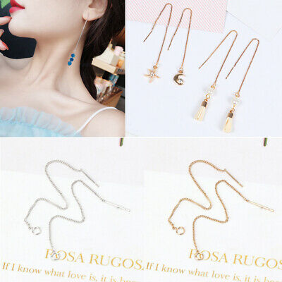 """3.5"""" DIY Ear Wire Thread With Jump Ring Dangle Earring Jewelry Connectors Making"""