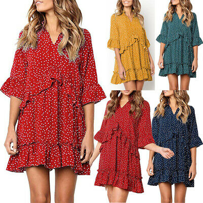 Women's Boho V-Neck Short Mini Dress Summer Evening Party Beach Dot Sundress