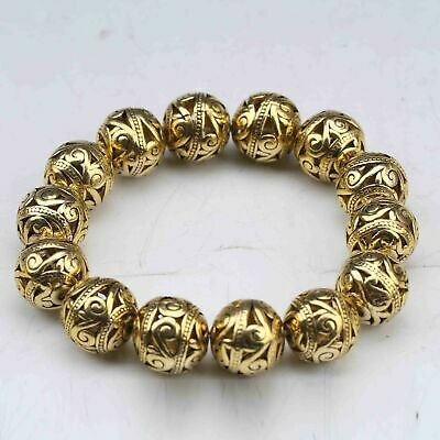 Chinese Tibetan silver gilt Hand Carved Hollow out small ball Bracelet