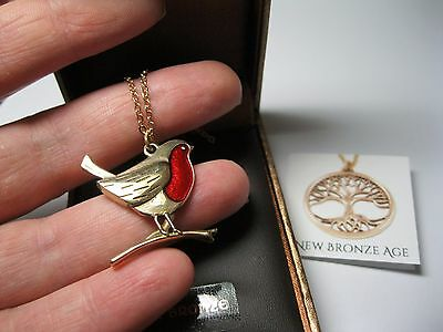 New St Justin Bronze Jewellery Made In Uk Robin On A Branch Pendant Necklace