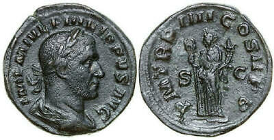 PHILIPPUS I 244 - 249 AD. Æ Sestertius, 18.95g. RIC 150a Near Extremely Fine