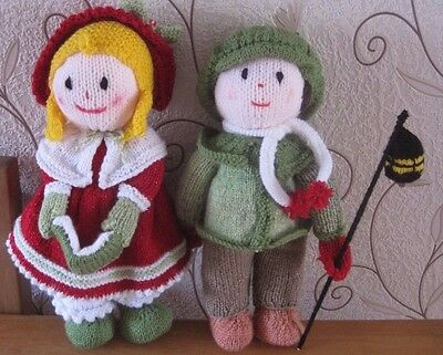 Hand Knitted Xmas Decorations. Shop Display. Victorian Carol Singers.