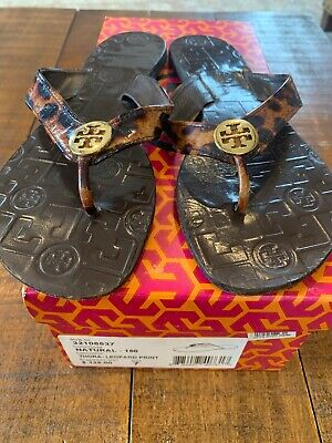 b1cd7cb16 TORY BURCH THORA Leopard Print  Gold Leather Thong Sandals Flip ...