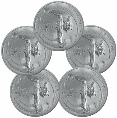 Lot of 5 2019 South Korea Taekwondo 1 oz Silver Medal GEM BU PRESALE SKU57460