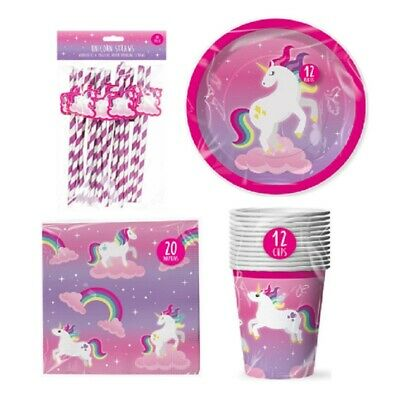 Magical Unicorn Theme Birthday Party Pack - Cups Plates Napkins And Paper Straws
