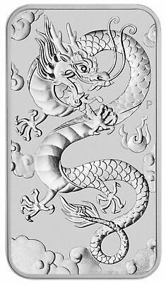 2019 P Australia 1 oz Silver Dragon $1 Bar GEM BU Coin SKU57289