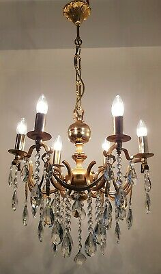 Antique Vintage 6 Arms Brass & Crystals Chandelier Lighting Ceiling Lamp Light