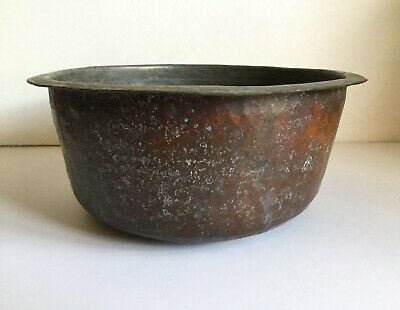 ~ Antique Primitive Hand Hammered Rolled Edge Heavy Large Tin Lined Copper Bowl
