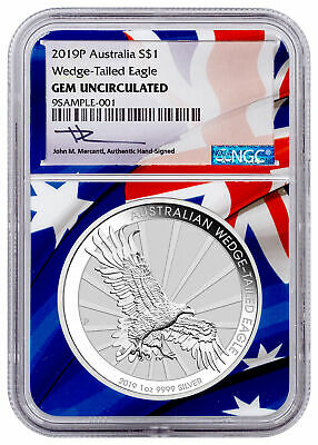 2019 P Australia 1 oz Silver Wedge Tailed Eagle $1 NGC GEM Unc Mercanti SKU56679