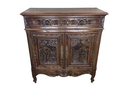 Nice Smaller Sized French Breton Server with Gothic Influence, Oak, 1890-1910