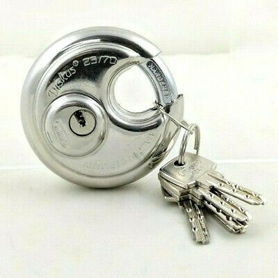 ABUS 25/70 Diskus Round Stainless Padlock Dimple Keys - Made in Germany