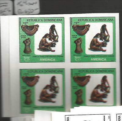 Dominican Republic SC C1065-6 Imperf Blocks of 4 MNH (1cpx)