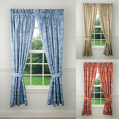 FLOATING LEAVES WINDOW Tailored Pair Curtains With Ties By Ellis Curtain