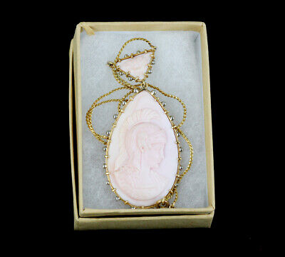 Antq Arts&Crafts 18K  Reversible Pink Conch Shell Cameo Goddess God Necklace 18""