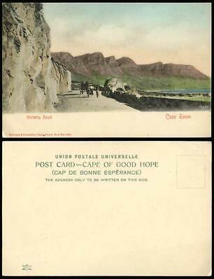 South Africa Cape Town Victoria Road Old Hand Tinted Postcard Cyclists Mountains