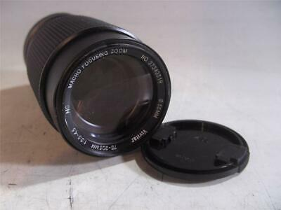 Vivitar 75-205MM f3.5-4.5 Macro Focusing Zoom Lens W/Canon FD Mount Rear Cap #T