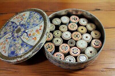 Vintage Lot Wooden Cotton Sewing Reels in Old Willow Tin - Dewhurst Sylko Coats