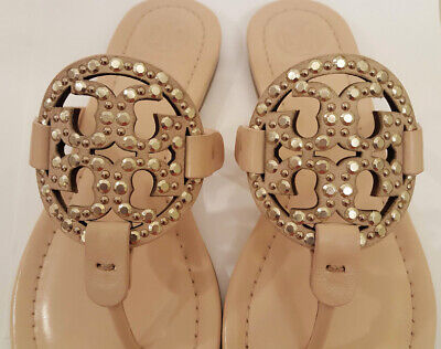 5571a0e5904f5  228 Tory Burch MILLER Embellished Studs Sea Shell Pink Leather Sandals Sz  5 NIB