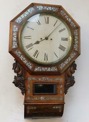 rosewood m.o.p inlaid double fusee wall clock