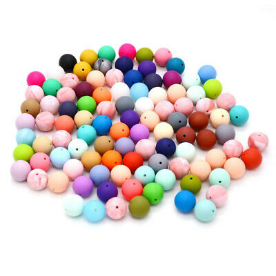 50Pcs Round Silicone Teething Beads 15Mm Baby Teether Bead Food Silicone Ball C6