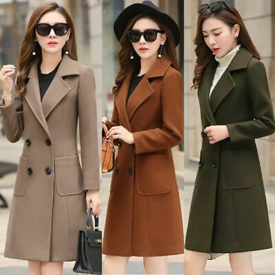 Women Slim Solid Color Wool Lapel Double-breasted Long Sleeve Coat  Parka Jacket