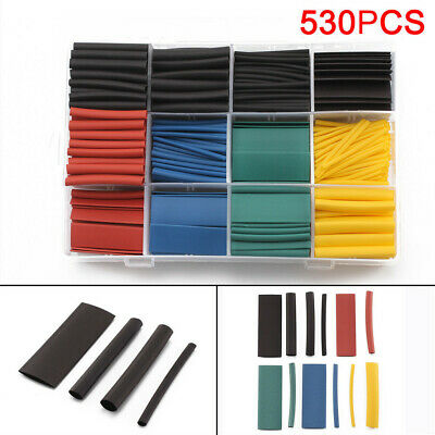 238/530Pcs  5 Color 8 Size 2:1 Heat Shrink Tubing Tube Sleeving Wrap Cable Wire