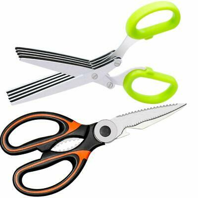 Kitchen Shears and Herb Scissors Set 5-Blade Herb Cutter Cutting Meat Salad Safe