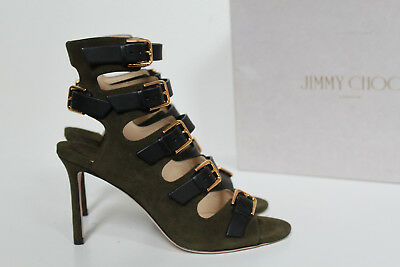 1094bcdc5c6 New sz 7   37 Jimmy Choo Trick Green Suede Buckle Ankle Cage Buckle Sandal  Shoes