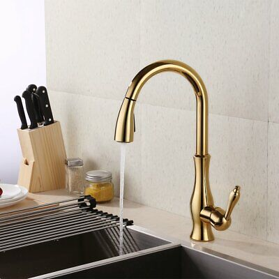 Gold Gooseneck Swivel Kitchen Faucet With Retractable Pull Out Wand