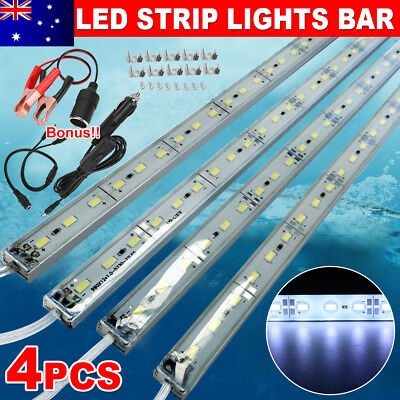 4X12V Waterproof Cool White 5630 Led Strip Lights Bars Camping Boat Car Lamp