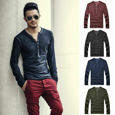 Men's Casual Blouse Tops Slim Fit Long Sleeve T-Shirt Button V-Neck Shirts Tee