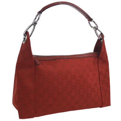 b107fbe4f AUTHENTIC GUCCI RED Leather And Canvas Small Tote Shoulder Bag - EUR ...