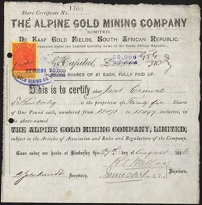 South Africa: Alpine Gold Mining Co. Ltd., £1 shares, 1886