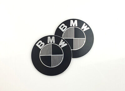 2 Tankembleme Badges Emblems für BMW 70mm CNC-gefräst CNC-milled Aluminium black
