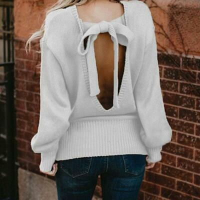 Women Sexy Bow Tie Sweater Backless Loose Long Sleeve Casual Sweater Blouse LC