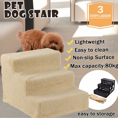 Large Soft Pet Stairs 3 Steps Ramp Animal Cat Dog Ladder Cover Indoor Foldable