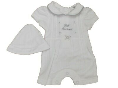 BNWT Tiny Premature Preemie Baby white romper all in one suit hat 3-5 lb  5-8lb