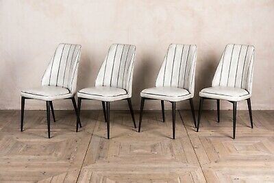 Set Of 4 White Faux Leather Upholstered Dining Chair Rib Stitched Modern Style