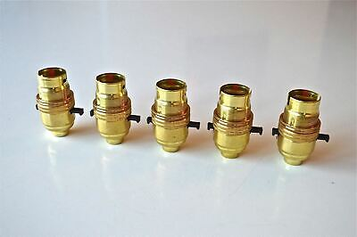 10 BRASS BAYONET FITTING BULB HOLDER LAMP HOLDER EARTHED WITH SHADE RING 10MM L2 Antiques Edwardian (1901-1910)