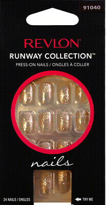 Revlon Runway False Nail Coffee With Gold Glitter Design Press On Nails 91040