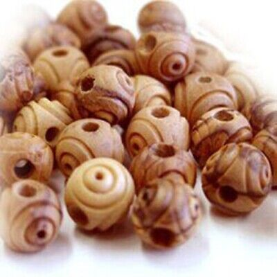 Vintage-Style Carved Round Olive Wood Beads from Bethlehem 16mm Middle East