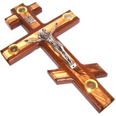 Patriarchal three bar Crucifix with Holy Land samples.  Made frm Mahagony and