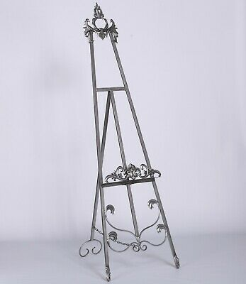 French Shabby Chic Style Antiqued Metal Easel 165cm Antique Silver Effect Finish