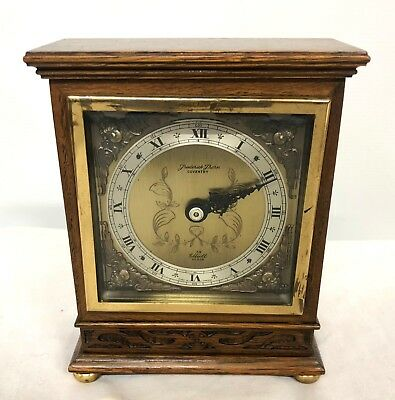 ELLIOTT LONDON Oak with Blind Fretwork Bracket Mantel Clock : Thorn COVENTRY