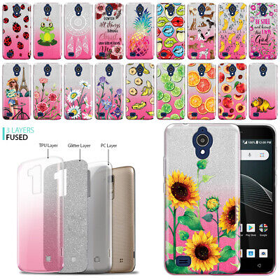 FOR ALCATEL AT&T Axia QS5509A/ CRICKET Vision N5001 Sparkling 2 Tone Case  Cover