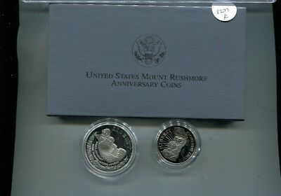 1991 Mount Rushmore Commemorative 2 Coin Set Proof Original Box + Coa 8277K