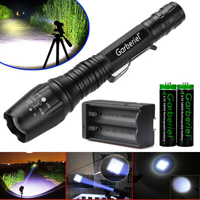 Tactical 200000LM T6 LED 5 Modes Flashlight Zoom Rechargeable 18650 Torch Light