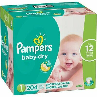 Pampers Baby-Dry Diapers Size 1 with 204 Count Diapers Multi-Colored