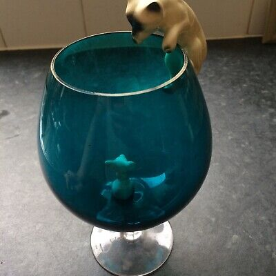 Vintage 1960's Large Cat and Mouse Brandy Glass